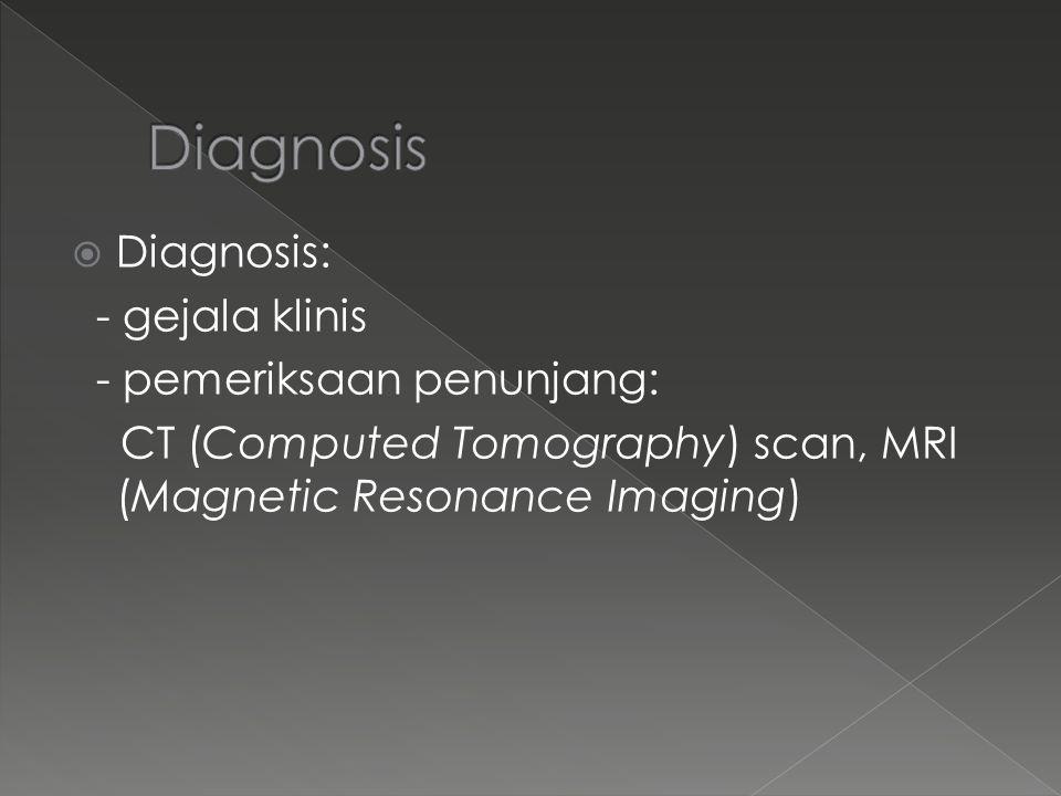 Diagnosis Diagnosis: - gejala klinis - pemeriksaan penunjang: