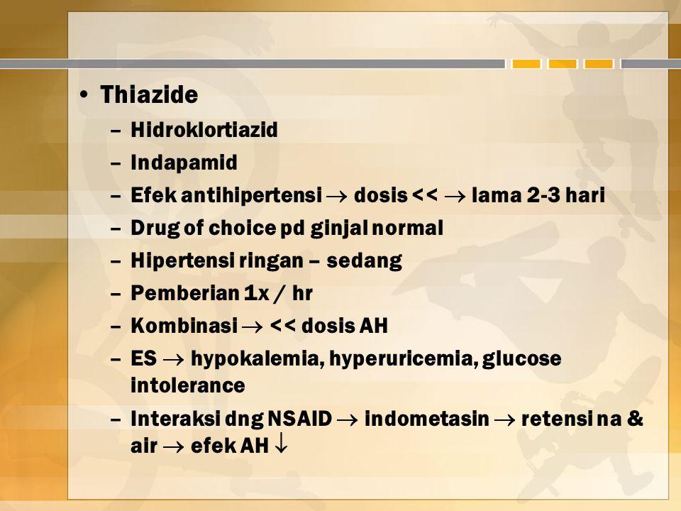 Thiazide Hidroklortiazid Indapamid