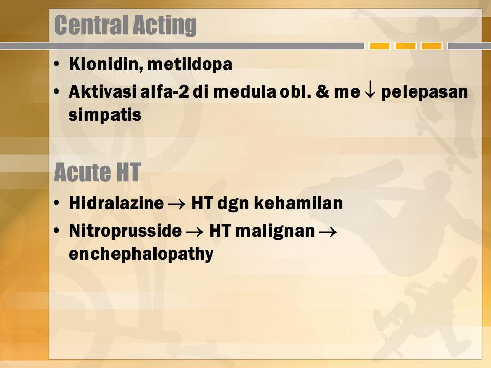 Central Acting Acute HT Klonidin, metildopa