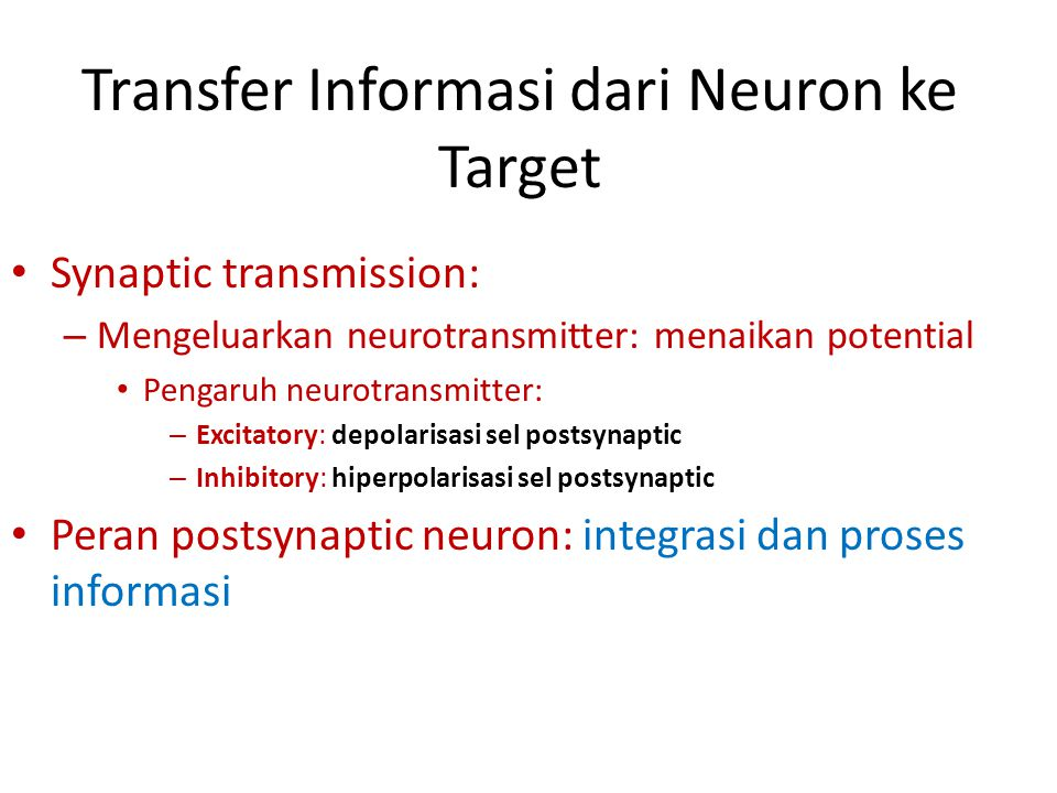 Transfer Informasi dari Neuron ke Target