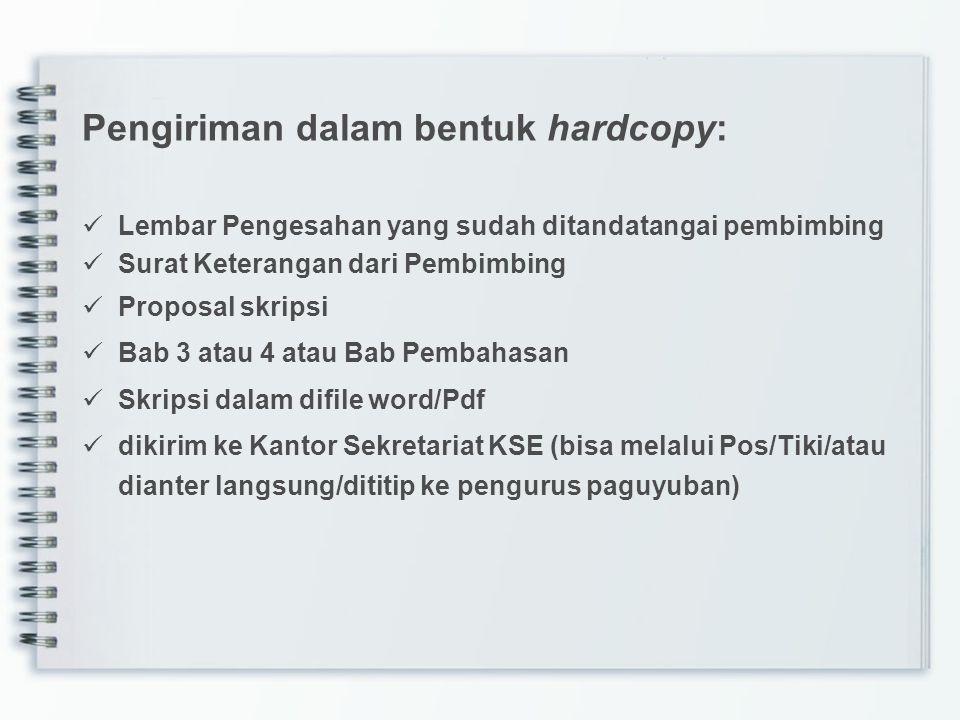Pengiriman dalam bentuk hardcopy: