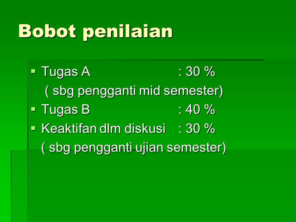 Bobot penilaian Tugas A : 30 % ( sbg pengganti mid semester)