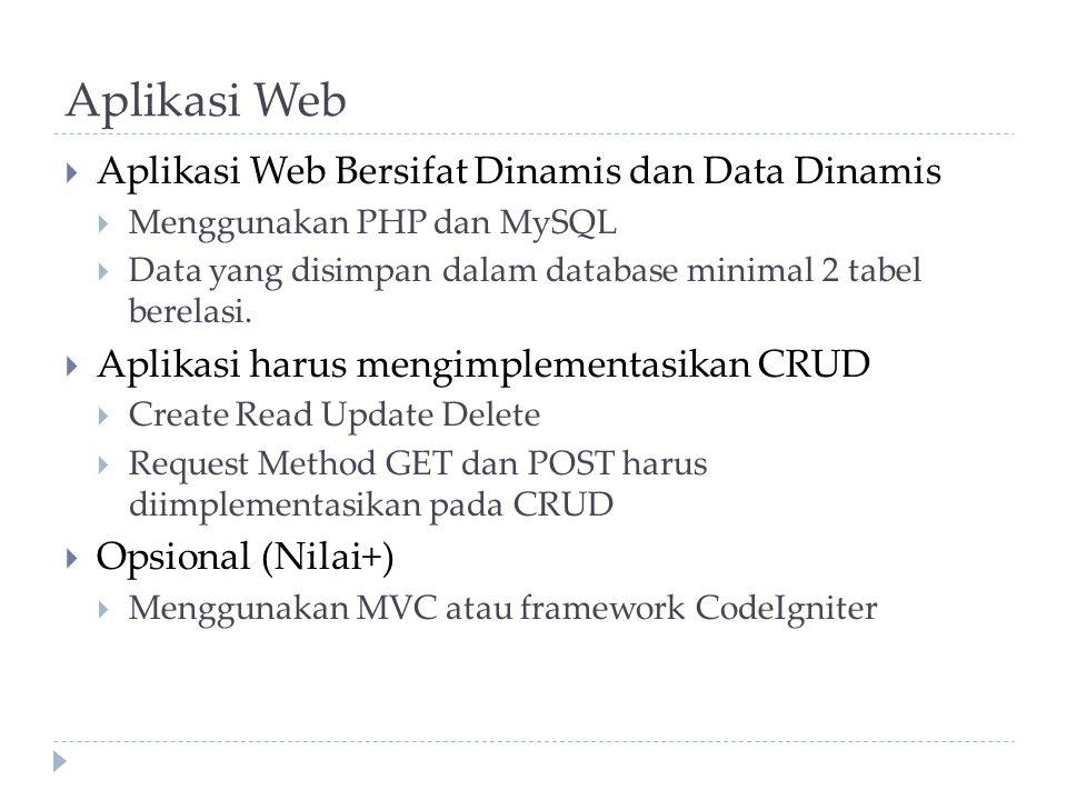 Aplikasi Web Aplikasi Web Bersifat Dinamis dan Data Dinamis