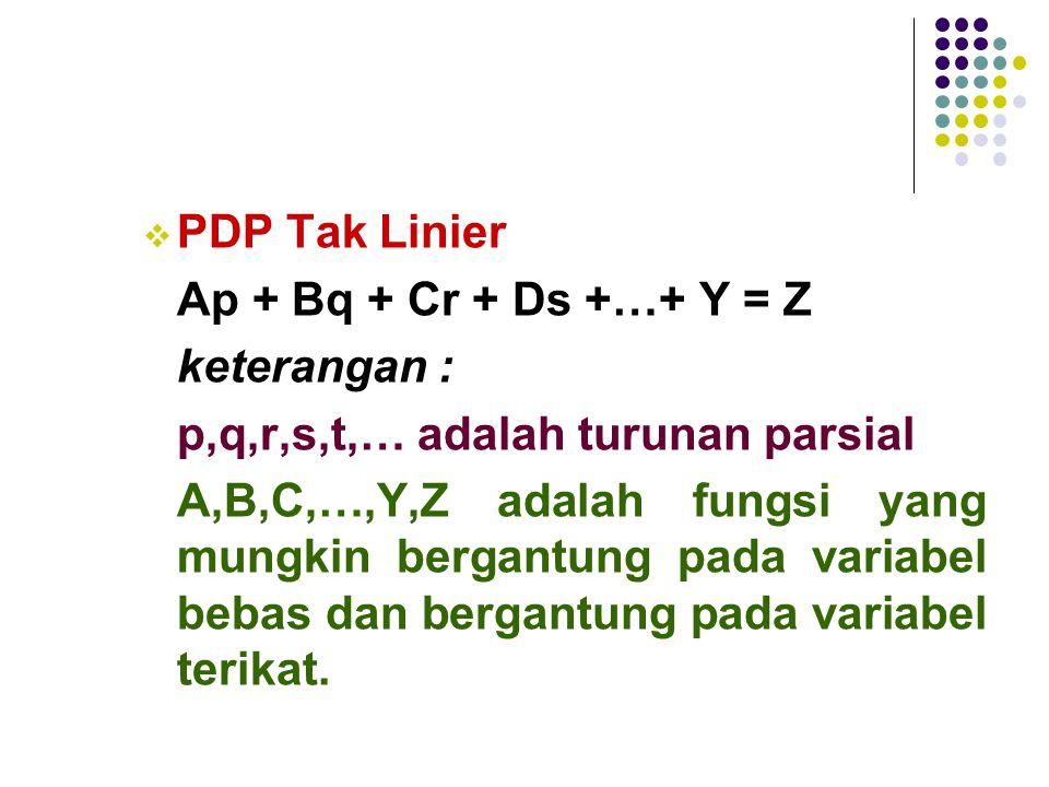 PDP Tak Linier Ap + Bq + Cr + Ds +…+ Y = Z. keterangan : p,q,r,s,t,… adalah turunan parsial.