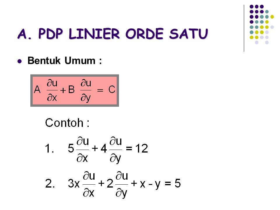 A. PDP LINIER ORDE SATU Bentuk Umum :