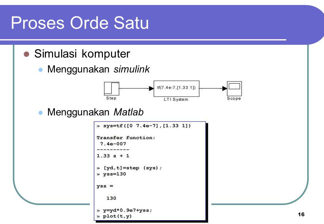 Proses Orde Satu Simulasi komputer Menggunakan simulink