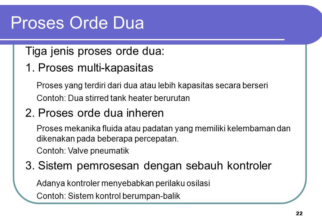Proses Orde Dua Tiga jenis proses orde dua: 1. Proses multi-kapasitas