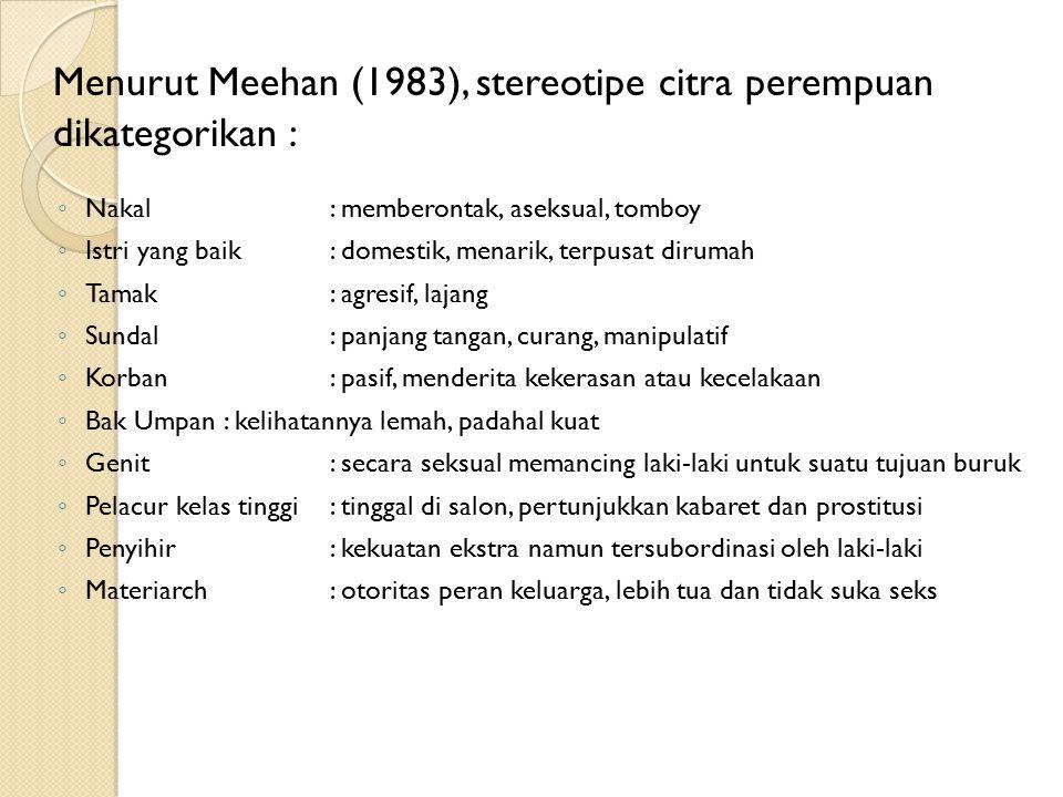 Menurut Meehan (1983), stereotipe citra perempuan dikategorikan :