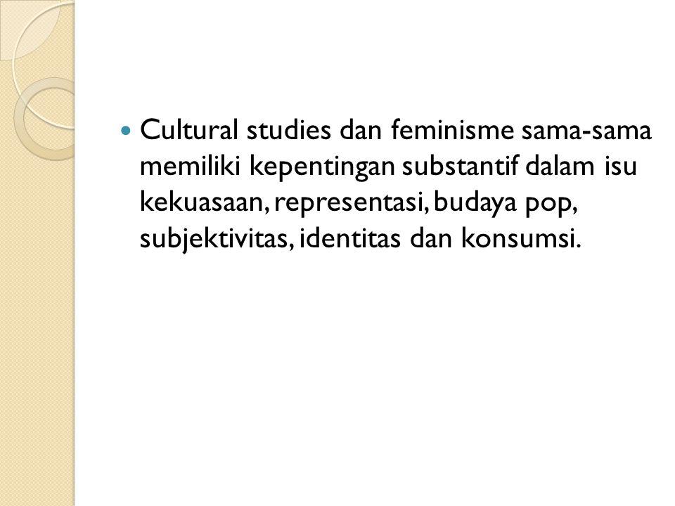 Cultural studies dan feminisme sama-sama memiliki kepentingan substantif dalam isu kekuasaan, representasi, budaya pop, subjektivitas, identitas dan konsumsi.