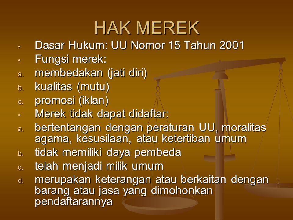 HAK MEREK Dasar Hukum: UU Nomor 15 Tahun 2001 Fungsi merek:
