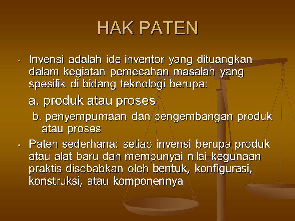 HAK PATEN a. produk atau proses