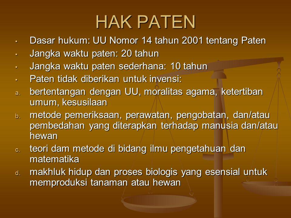 HAK PATEN Dasar hukum: UU Nomor 14 tahun 2001 tentang Paten