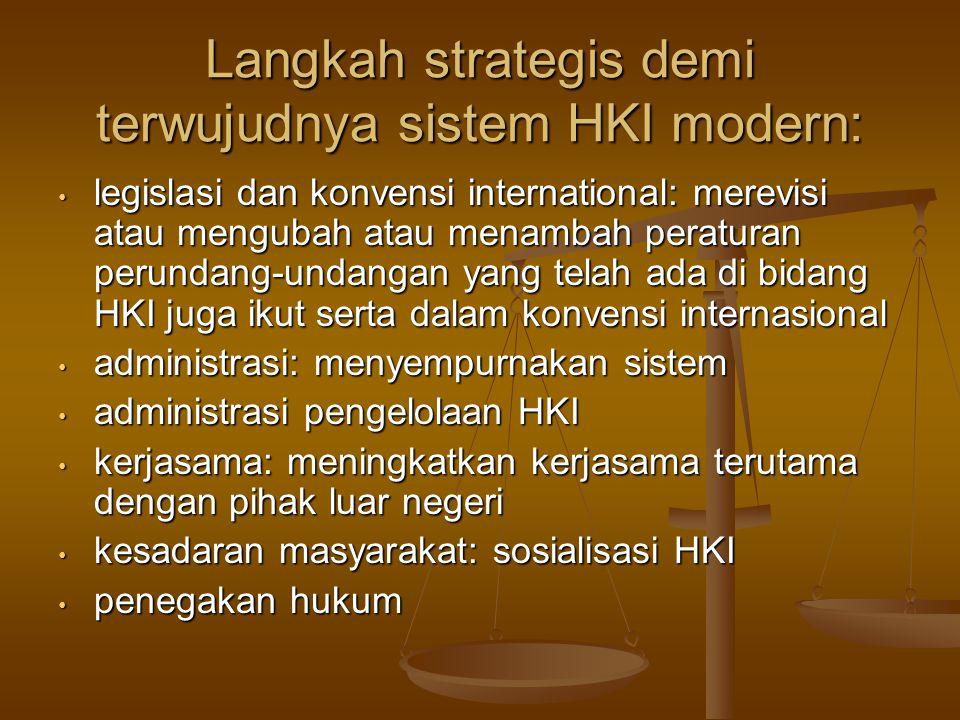 Langkah strategis demi terwujudnya sistem HKI modern: