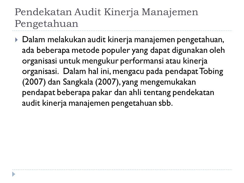 Pendekatan Audit Kinerja Manajemen Pengetahuan