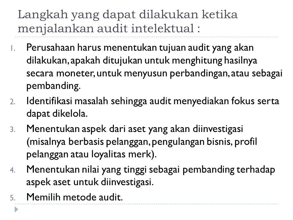 Langkah yang dapat dilakukan ketika menjalankan audit intelektual :