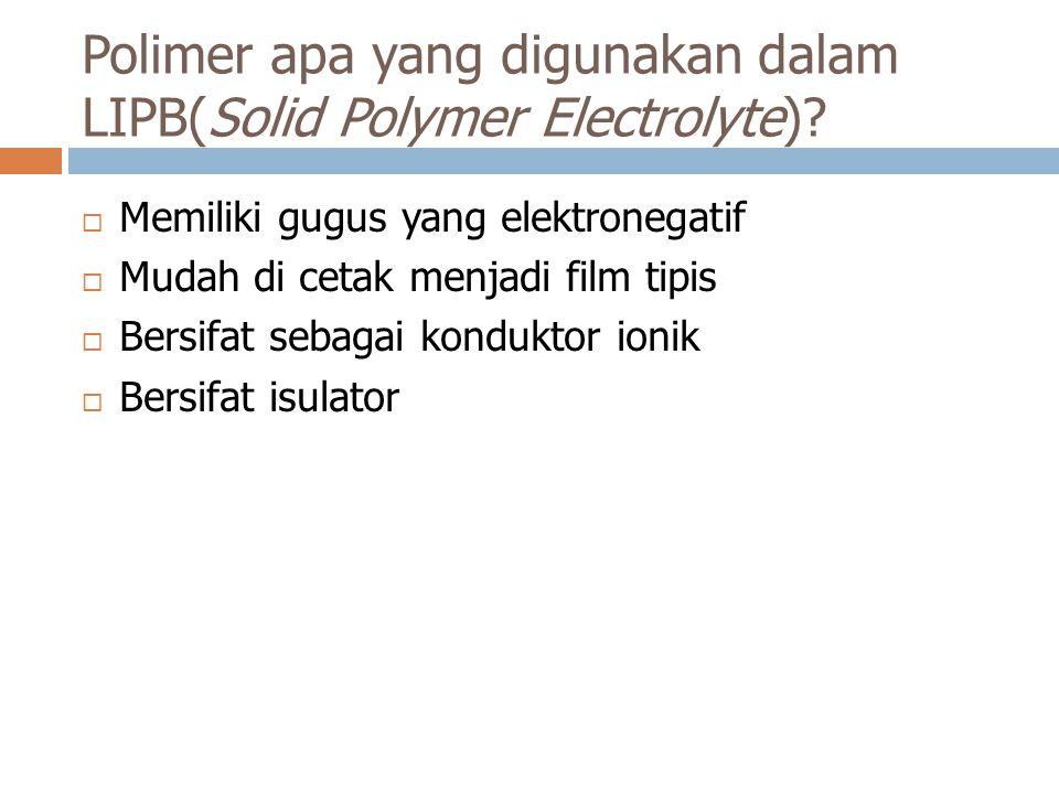 Polimer apa yang digunakan dalam LIPB(Solid Polymer Electrolyte)
