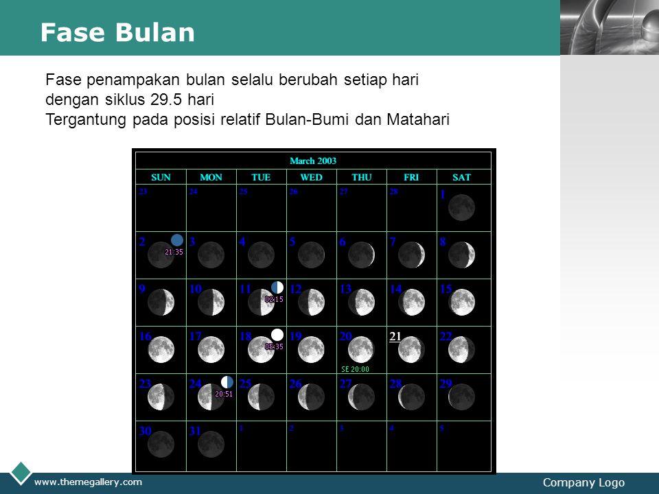 Fase Bulan Fase penampakan bulan selalu berubah setiap hari dengan siklus 29.5 hari. Tergantung pada posisi relatif Bulan-Bumi dan Matahari.