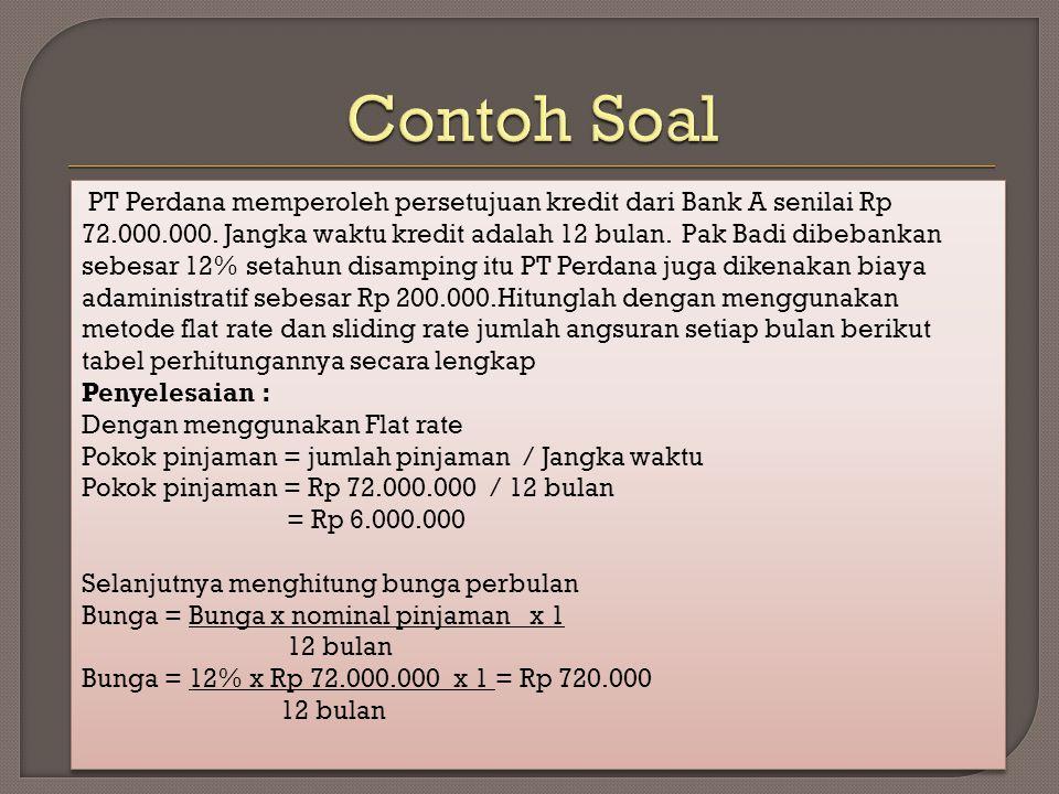 Contoh Soal PT Perdana memperoleh persetujuan kredit dari Bank A senilai Rp.