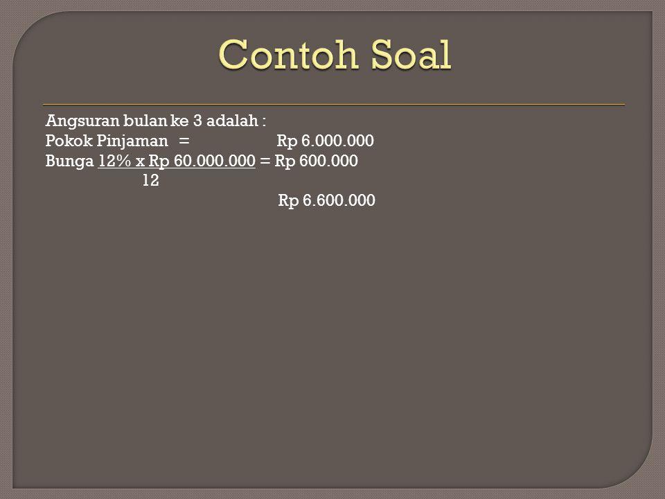 Contoh Soal Angsuran bulan ke 3 adalah : Pokok Pinjaman = Rp 6.000.000