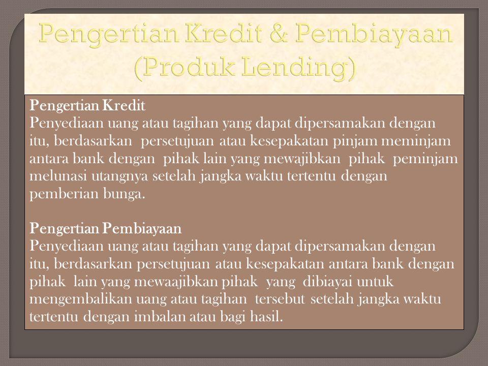 Pengertian Kredit & Pembiayaan (Produk Lending)