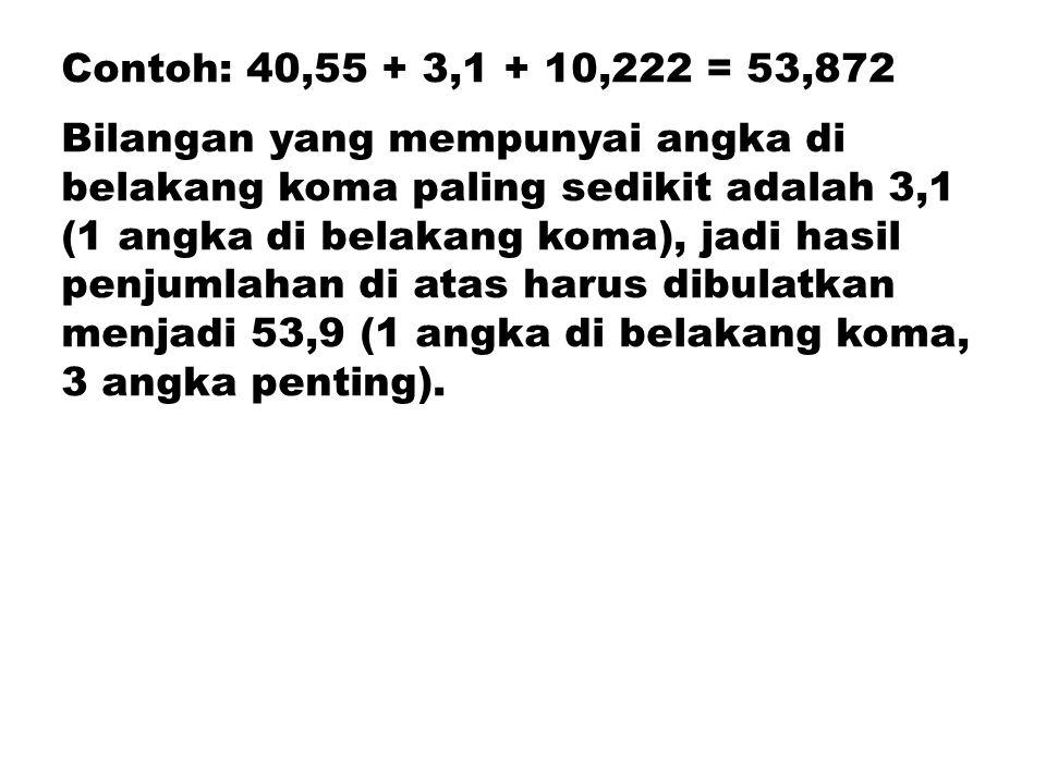 Contoh: 40,55 + 3,1 + 10,222 = 53,872