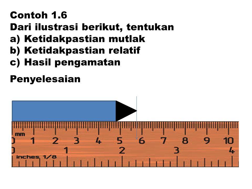 Contoh 1.6 Dari ilustrasi berikut, tentukan. Ketidakpastian mutlak. Ketidakpastian relatif. Hasil pengamatan.