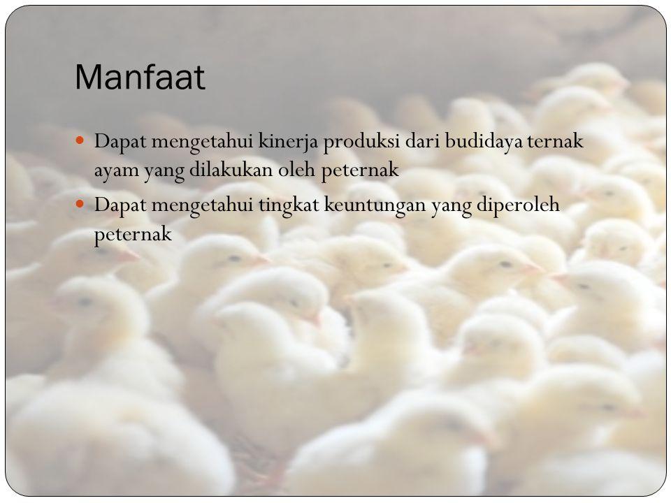 Manfaat Dapat mengetahui kinerja produksi dari budidaya ternak ayam yang dilakukan oleh peternak.