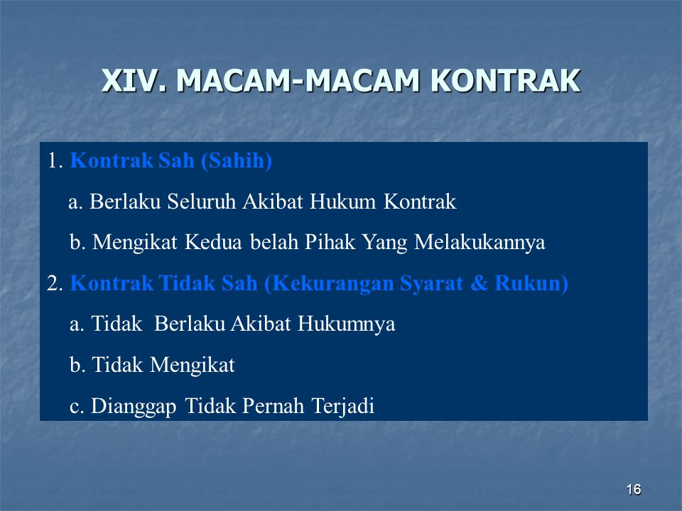 XIV. MACAM-MACAM KONTRAK