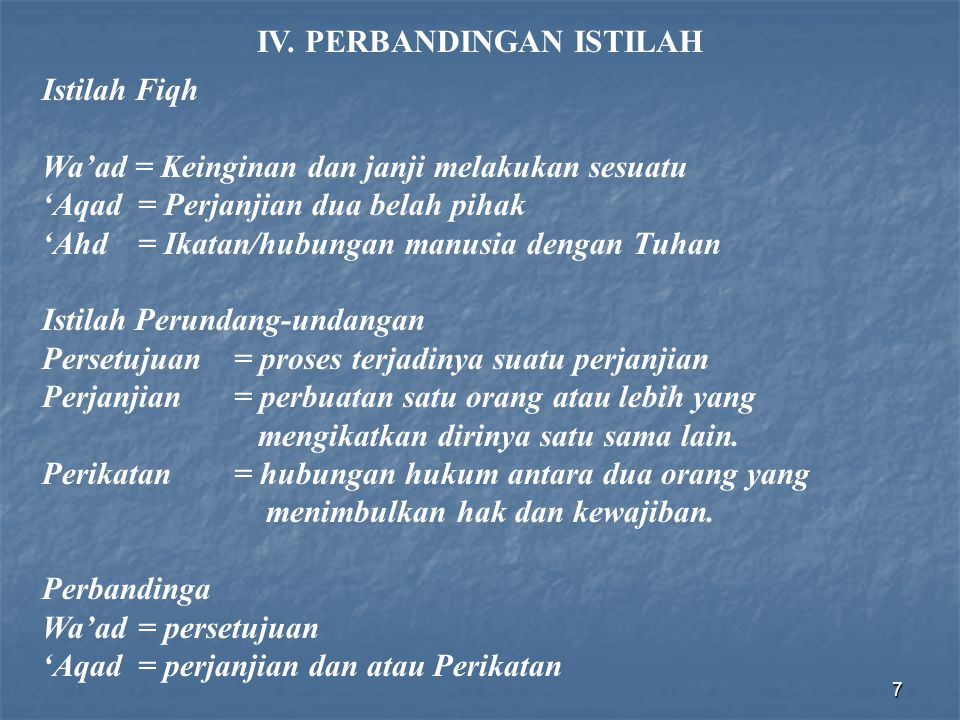 IV. PERBANDINGAN ISTILAH