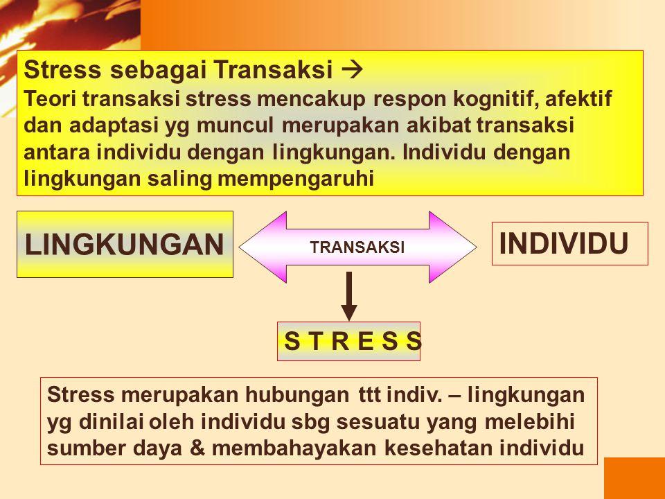 LINGKUNGAN INDIVIDU Stress sebagai Transaksi  S T R E S S
