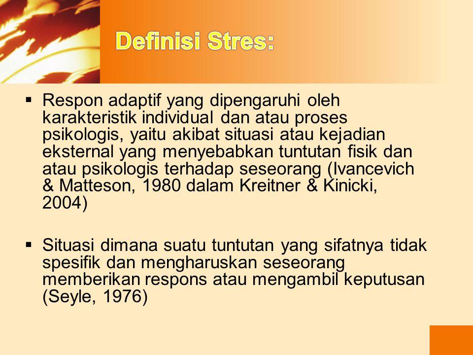 Definisi Stres: