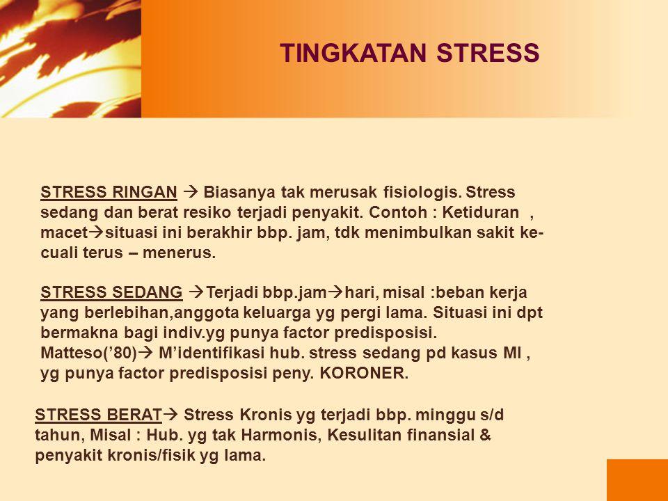 TINGKATAN STRESS STRESS RINGAN  Biasanya tak merusak fisiologis. Stress. sedang dan berat resiko terjadi penyakit. Contoh : Ketiduran ,