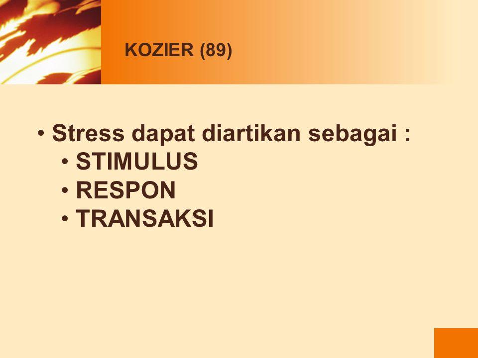 Stress dapat diartikan sebagai : STIMULUS RESPON TRANSAKSI