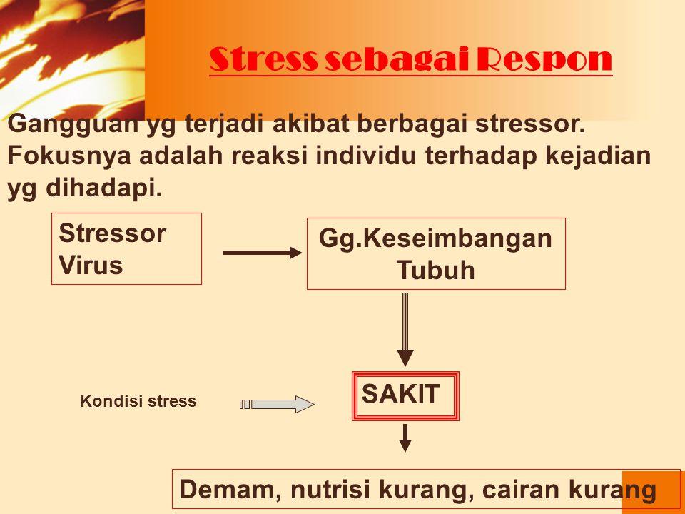 Stress sebagai Respon Gangguan yg terjadi akibat berbagai stressor. Fokusnya adalah reaksi individu terhadap kejadian yg dihadapi.