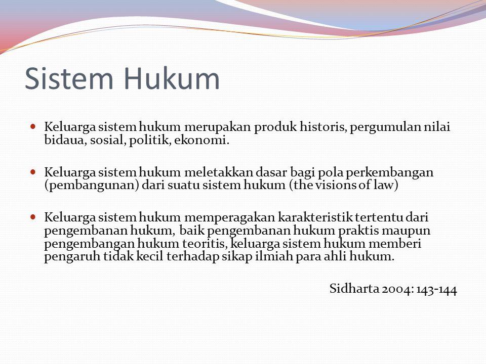 Sistem Hukum Keluarga sistem hukum merupakan produk historis, pergumulan nilai bidaua, sosial, politik, ekonomi.