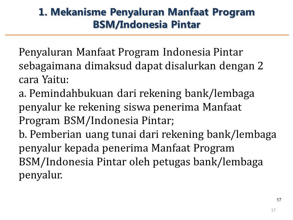 1. Mekanisme Penyaluran Manfaat Program BSM/Indonesia Pintar