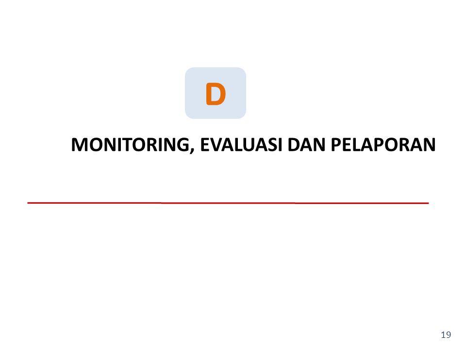 D MONITORING, EVALUASI DAN PELAPORAN