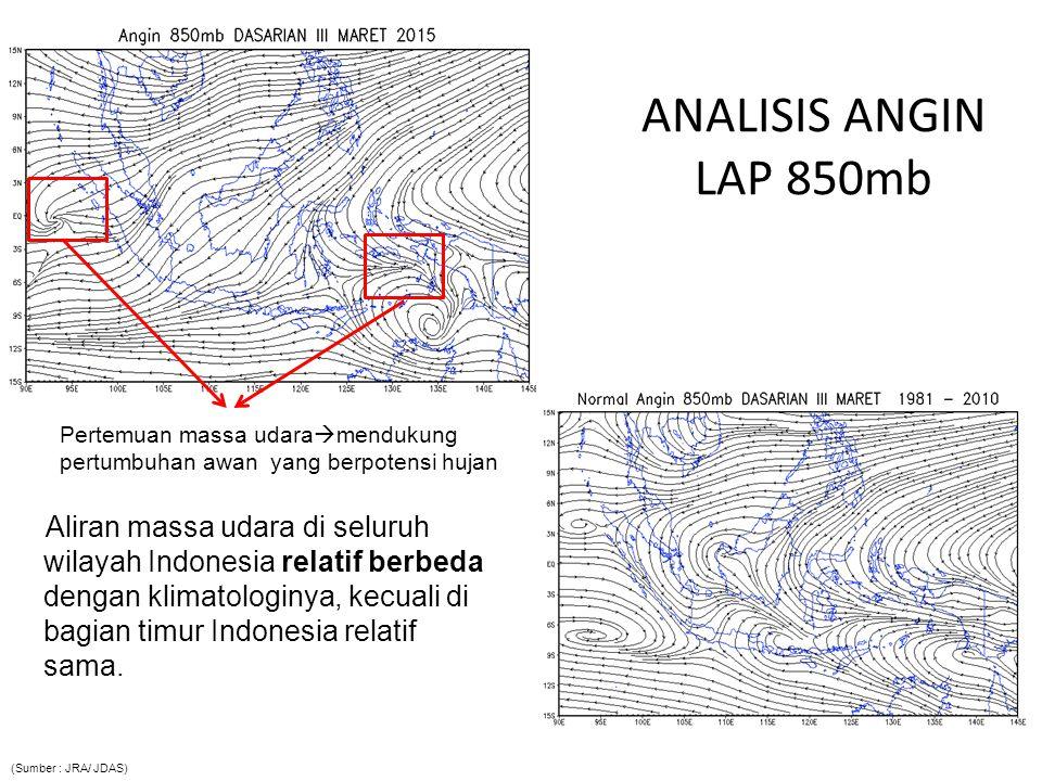 ANALISIS ANGIN LAP 850mb Pertemuan massa udaramendukung pertumbuhan awan yang berpotensi hujan.
