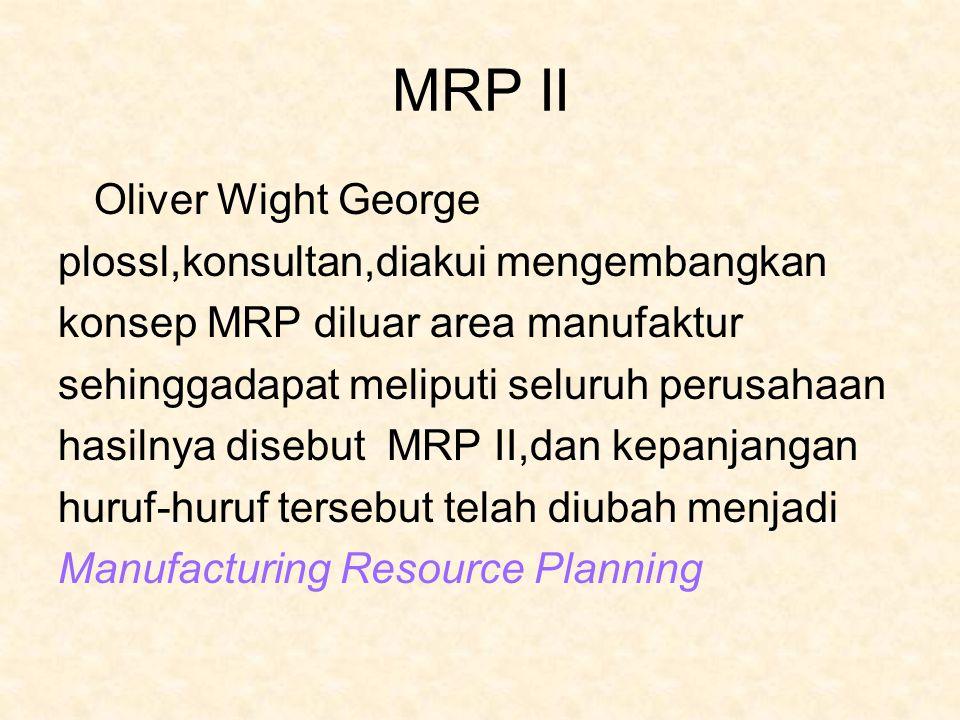 MRP II Oliver Wight George plossl,konsultan,diakui mengembangkan