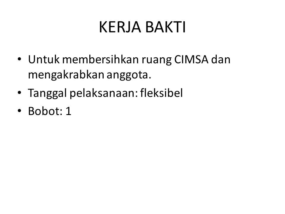 KERJA BAKTI Untuk membersihkan ruang CIMSA dan mengakrabkan anggota.