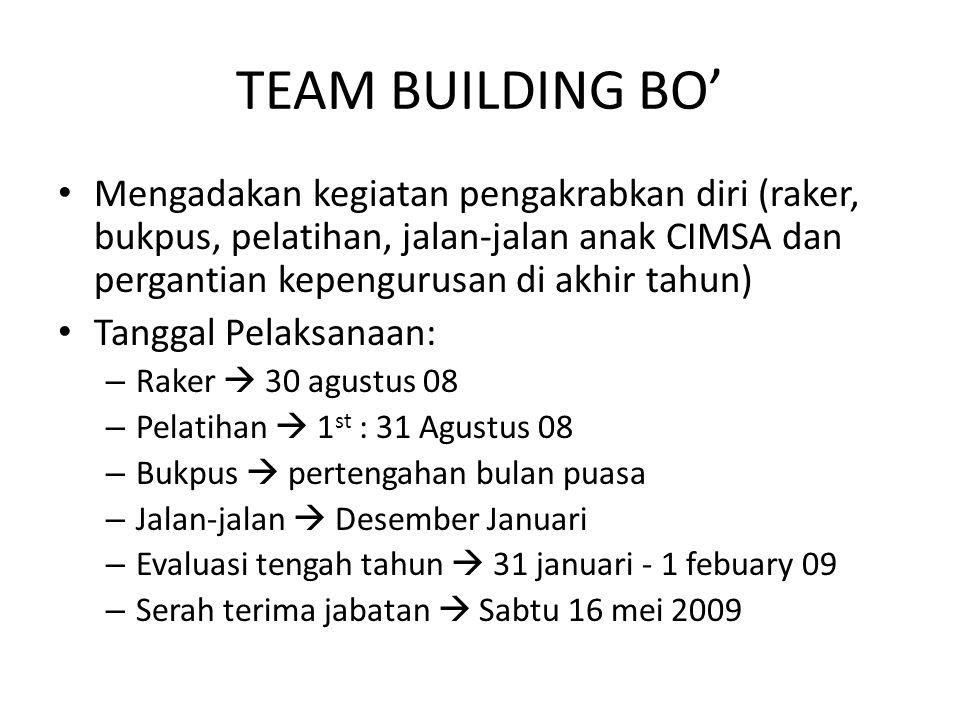 TEAM BUILDING BO' Mengadakan kegiatan pengakrabkan diri (raker, bukpus, pelatihan, jalan-jalan anak CIMSA dan pergantian kepengurusan di akhir tahun)