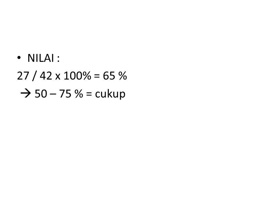 NILAI : 27 / 42 x 100% = 65 %  50 – 75 % = cukup