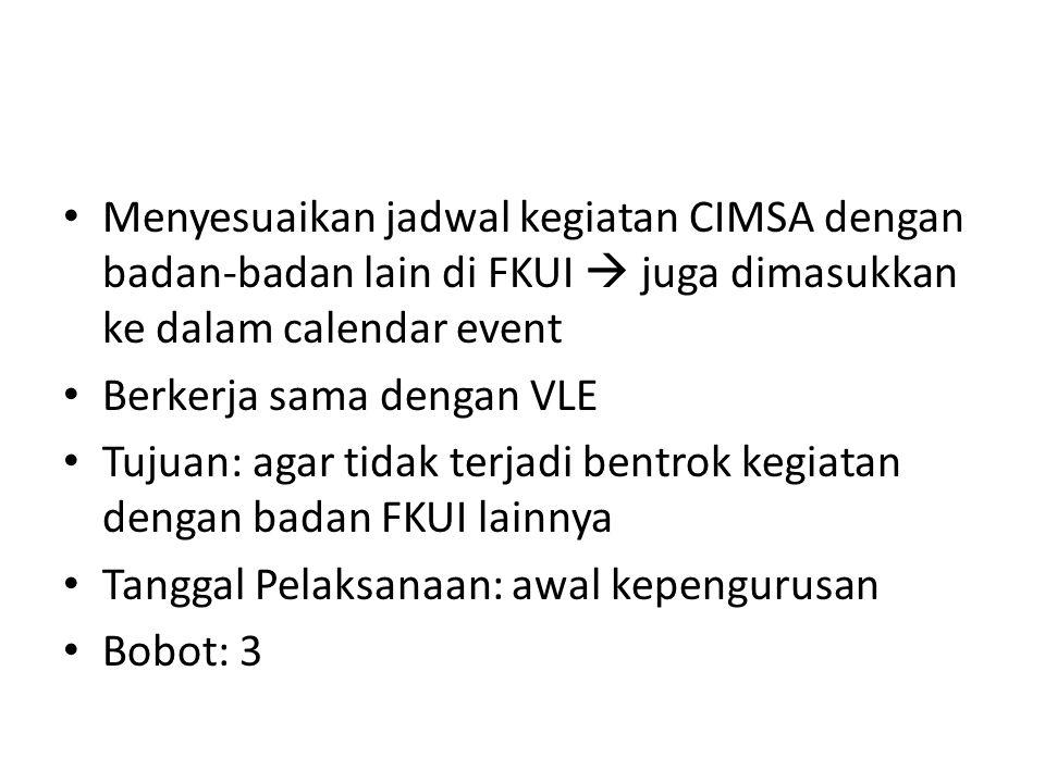 Menyesuaikan jadwal kegiatan CIMSA dengan badan-badan lain di FKUI  juga dimasukkan ke dalam calendar event