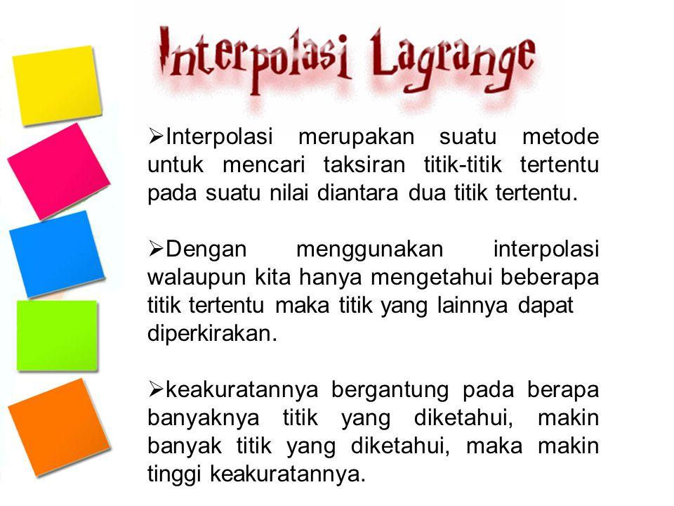 Interpolasi merupakan suatu metode untuk mencari taksiran titik-titik tertentu pada suatu nilai diantara dua titik tertentu.