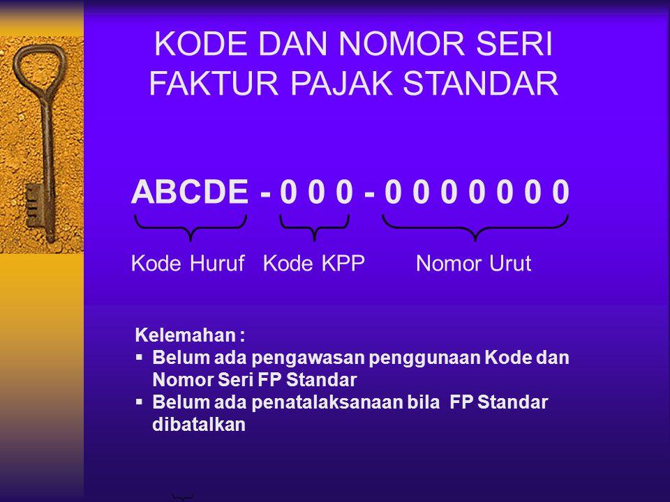 KODE DAN NOMOR SERI FAKTUR PAJAK STANDAR ABCDE - 0 0 0 - 0 0 0 0 0 0 0
