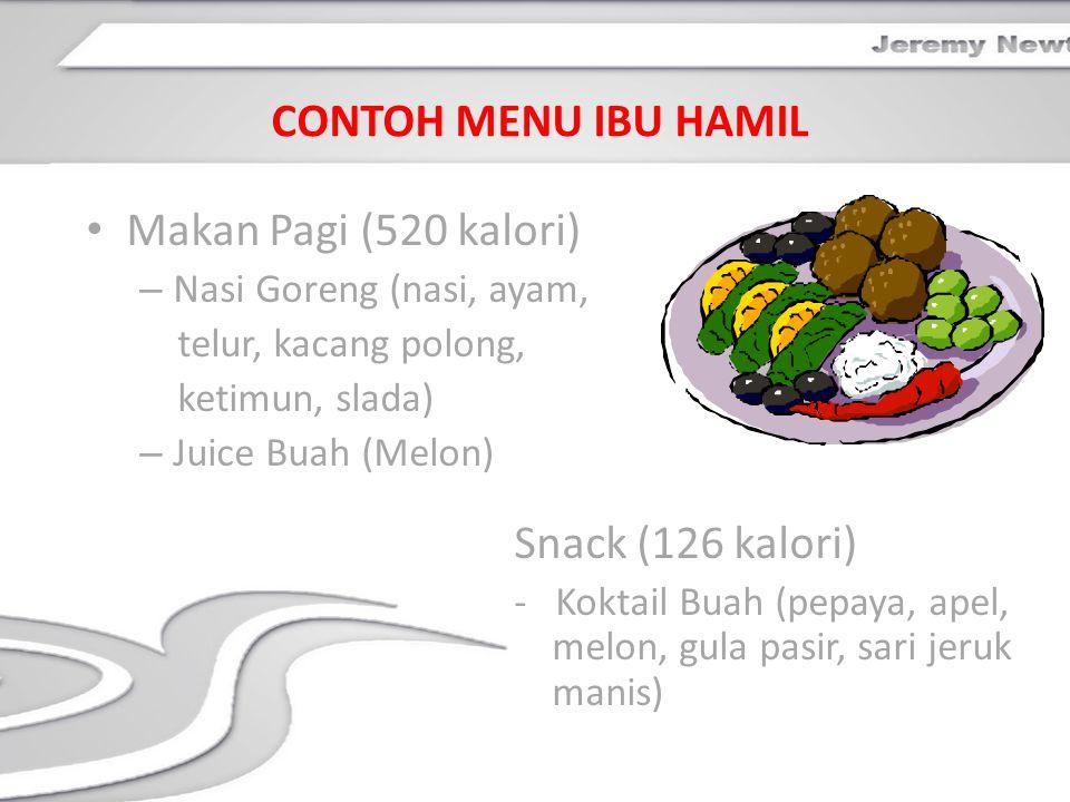 CONTOH MENU IBU HAMIL Makan Pagi (520 kalori) Snack (126 kalori)