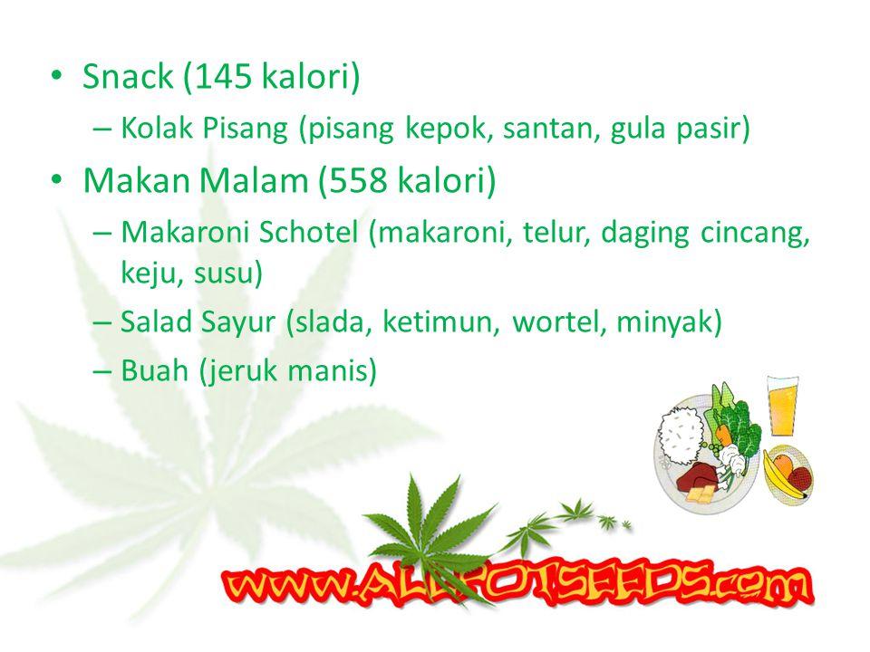 Snack (145 kalori) Makan Malam (558 kalori)
