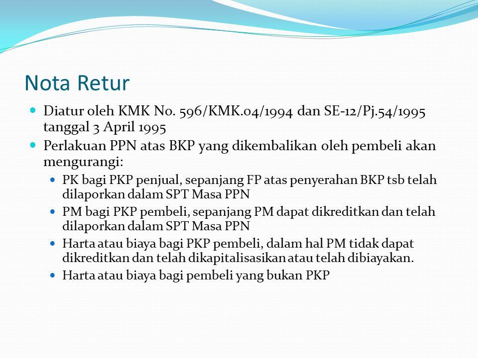 Nota Retur Diatur oleh KMK No. 596/KMK.04/1994 dan SE-12/Pj.54/1995 tanggal 3 April 1995.