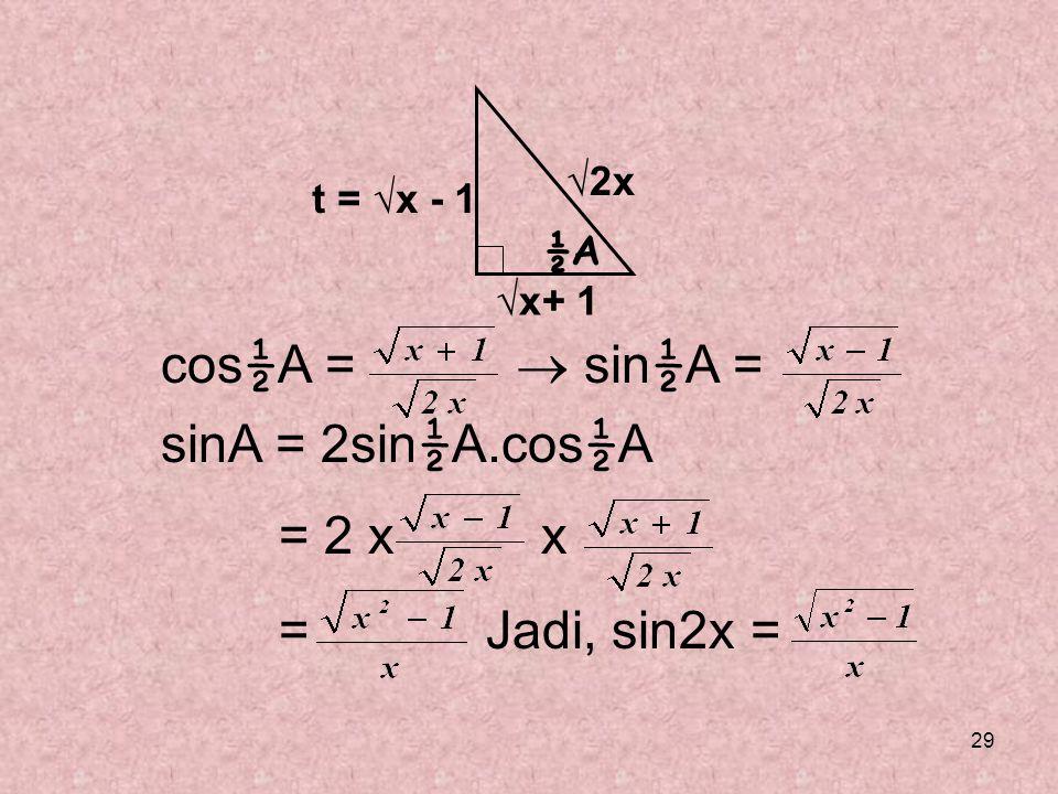 cos½A =  sin½A = sinA = 2sin½A.cos½A = 2 x x = Jadi, sin2x = √2x
