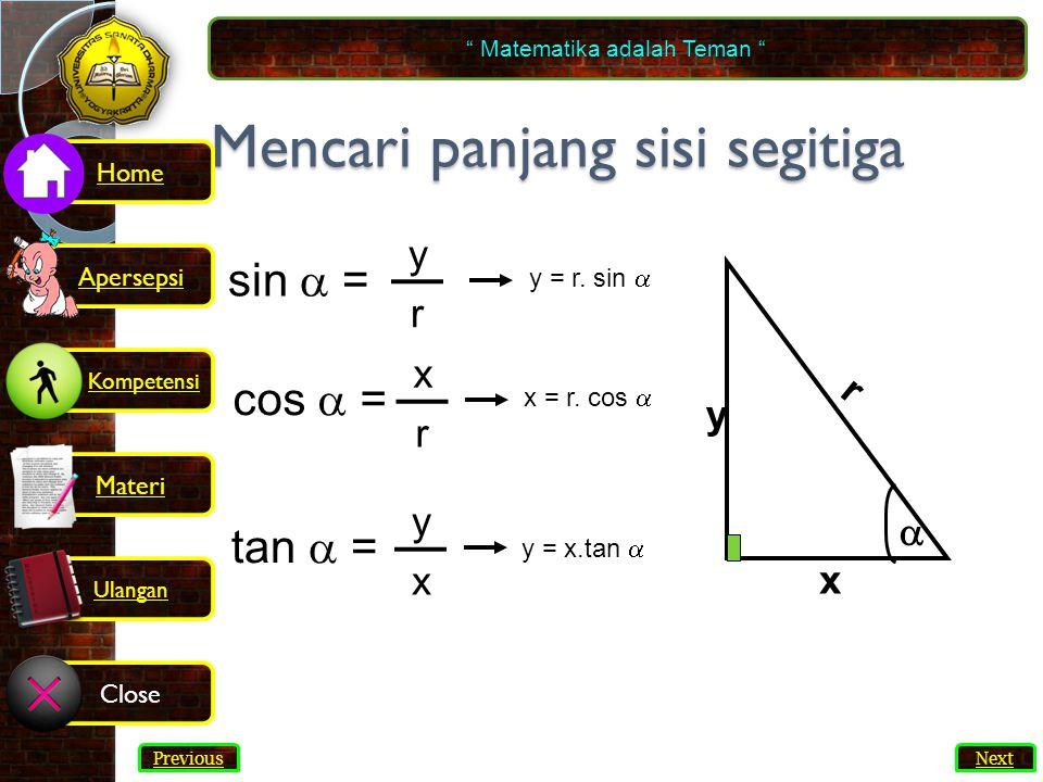 Mencari panjang sisi segitiga